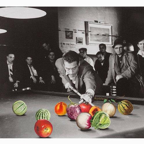 Cuadro de un hombre jugando al billar con frutas y verduras