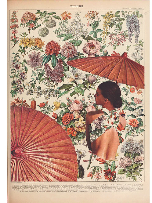 Collage de una mujer con un parasol y el fondo de flores