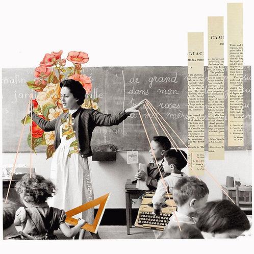 Collage de profesores en clase