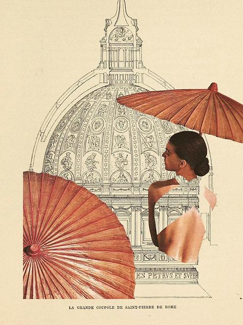 Collage de una mujer con un parasol y de fondo la Cúpula de San Pedro