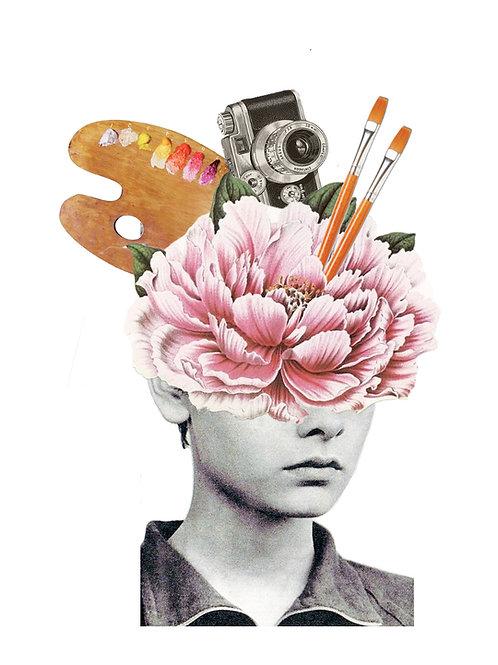 Collage de una mujer con la cabeza llena de arte