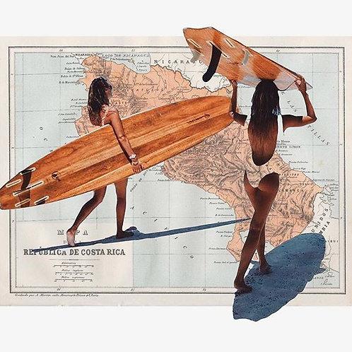 Cuadro original para casa del mapa de Costa Rica