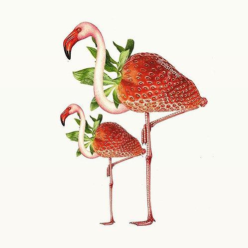 Cuadro original para casa de flamencos y fresas