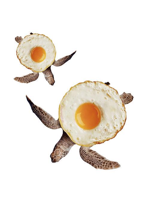 Collage de estilo surrealista de tortugas y huevos fritos