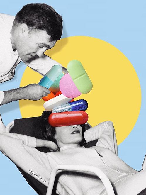 Collage de un doctor con una paciente con cabeza de pastillas