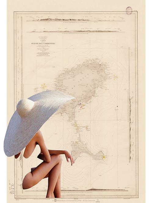 Collage del mapa de Ibiza y Formentera con una mujer con pamela