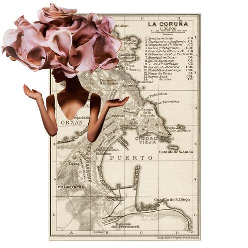 Collage del mapa de La Coruña con una mujer con sombrero rosa