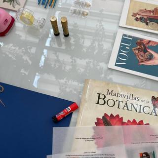 Libros y texturas para el taller de collage de Pilsferrer