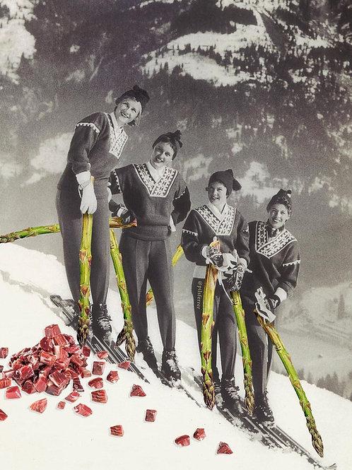 Collage de estilo surrealista de mujeres esquiadoras con bastones de espárragos
