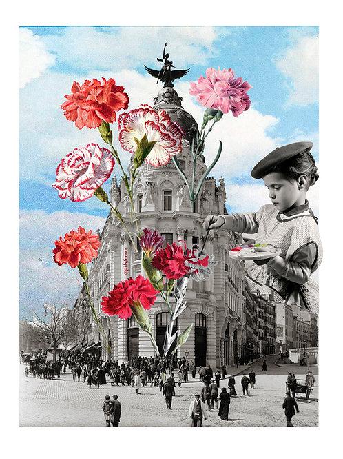 Collage de Pilsferrer de Madrid para San Isidro con claveles