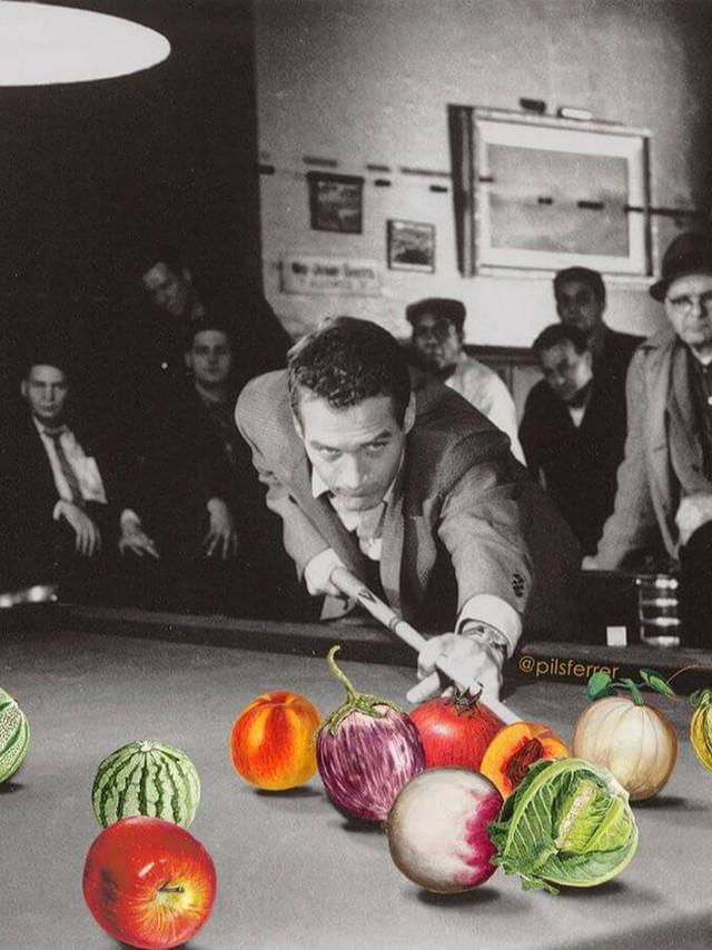 collage de un hombre jugando al billar con frutas y verduras