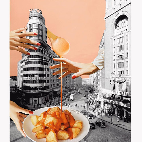 Collage de Madrid con un plato de patatas bravas