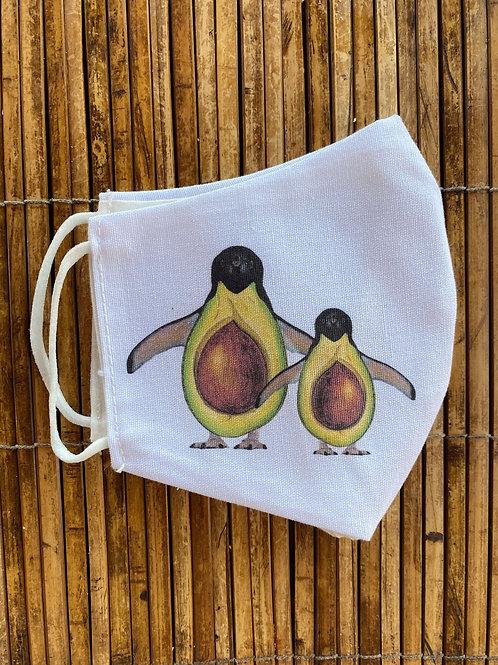 Mascarilla original con el diseño de los Pingüacates de Pilsferrer