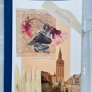 Collage de una alumna en el taller de Pilsferrer