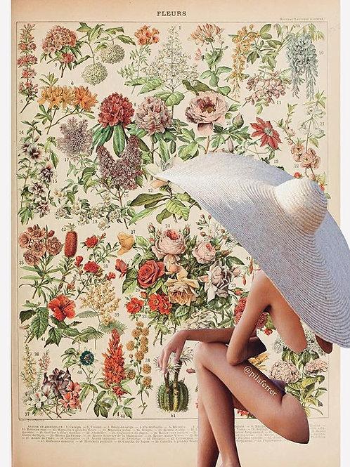 Cuadro original para casa de flores y mujer con pamela