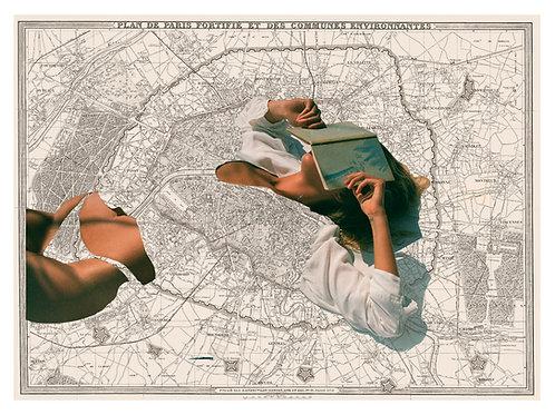Collage con el mapa de París