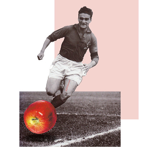 Cuadro para casa de hombre jugando al futbol con una manzana