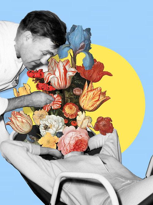 Collage de un doctor con un paciente con una cabeza de flores