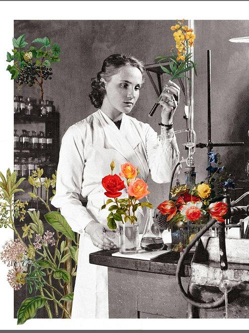 Cuadro de una mujer científico en el laboratorio con flores