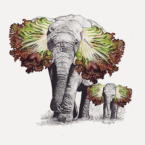 Cuadro original para casa de elefantes