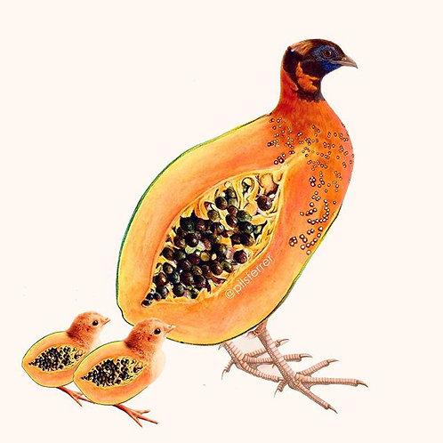 Cuadro original para casa de papaya y pollitos