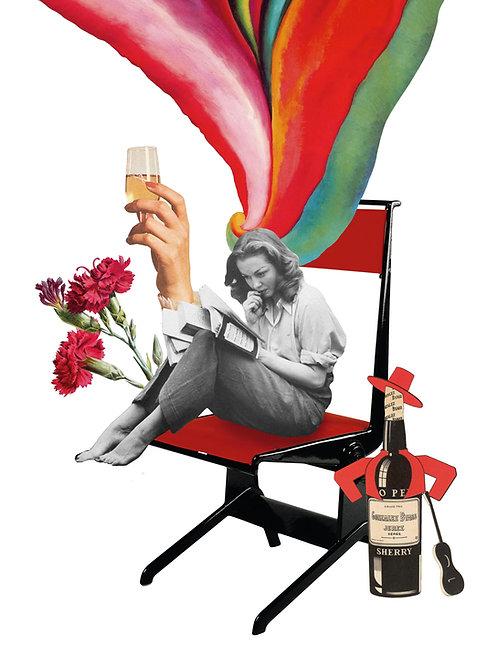 Collage surrealista de una mujer con elementos tipicos de abril