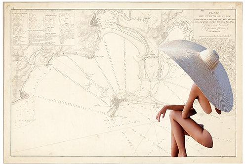 Collage con el mapa de Cádiz