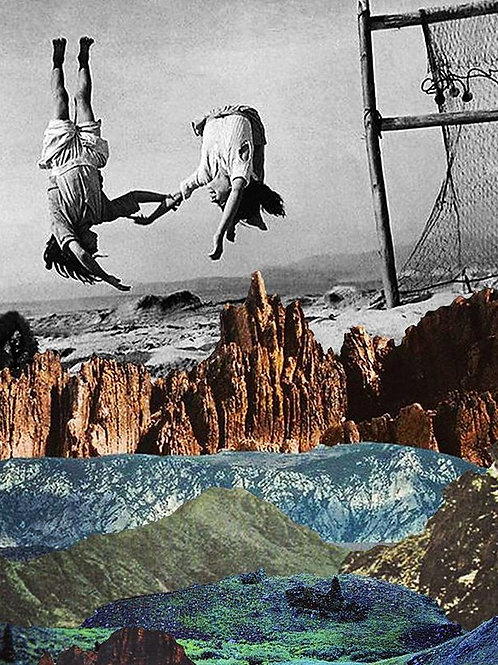 Cuadro original para casa de niños saltando un volcán