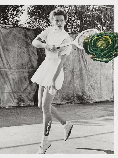 Cuadro original para casa de una mujer jugando al tenis
