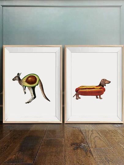collage de animales y comida