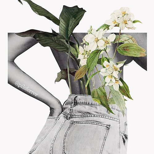 Cuadro original para casa de flores blancas