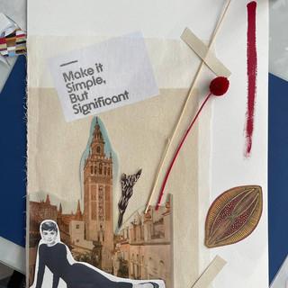 Collage casi terminado de una alumna en el taller de Pilsferrer
