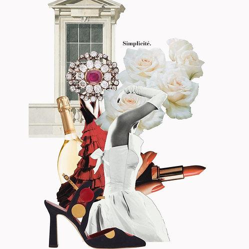Collage con elementos de la moda española