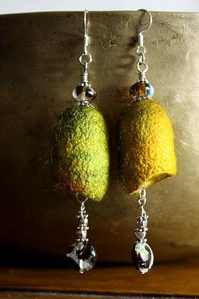 Silk Cocoon Earrings Yellow/Green
