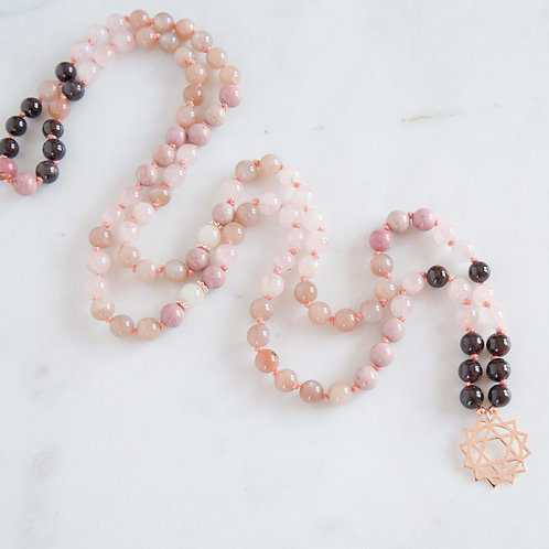 hand knotted light pink thread mala