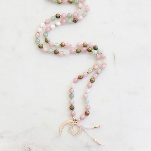 handknotted on lilac color mala