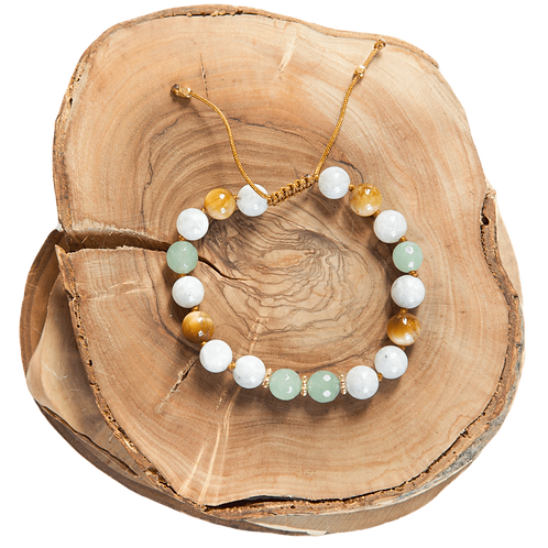 hand knotted white yellow light green bracelet