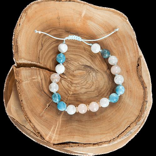 hand knotted white light blue bracelet