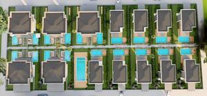 Tek müstakil villalar 321 m², ikiz villalar 240 m² toplam arsa paylarına sahiptir.