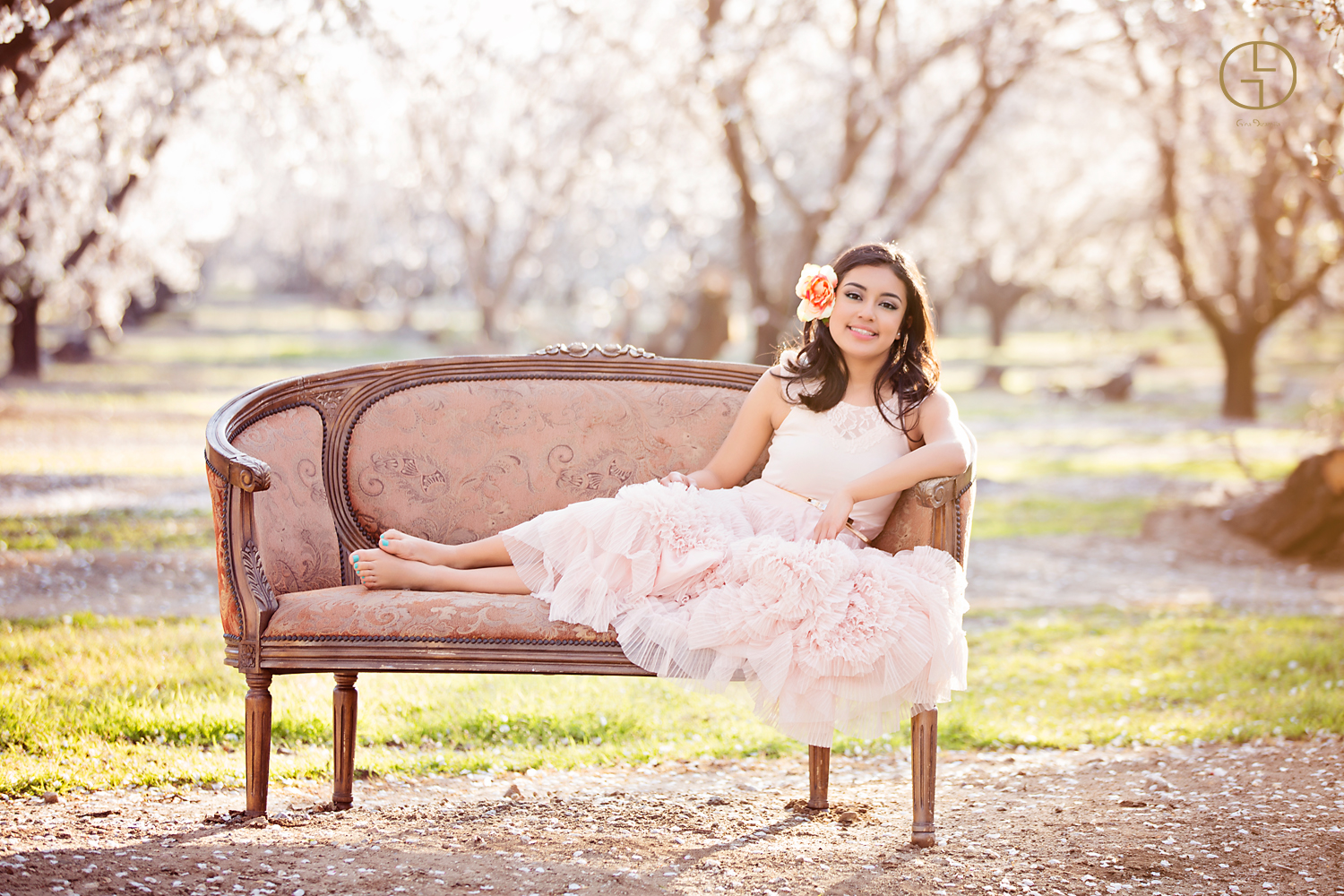 quinceanera photoshoot in the almond trees