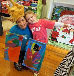 Annie Rone with Preschool Art Student