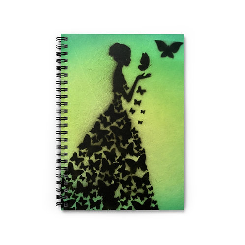 Lady Butterfly Spiral Notebook - Ruled Line