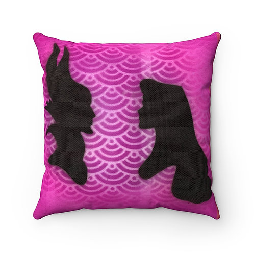 Face Off Square Pillow