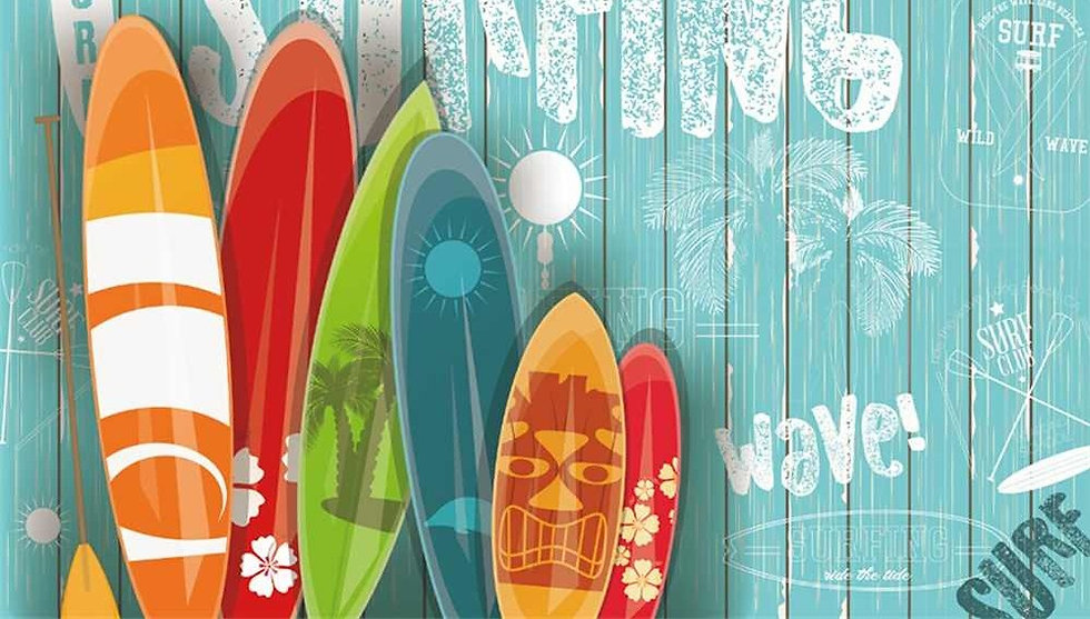 Laeacco-Planks-Wall-Summer-Surfing-Color