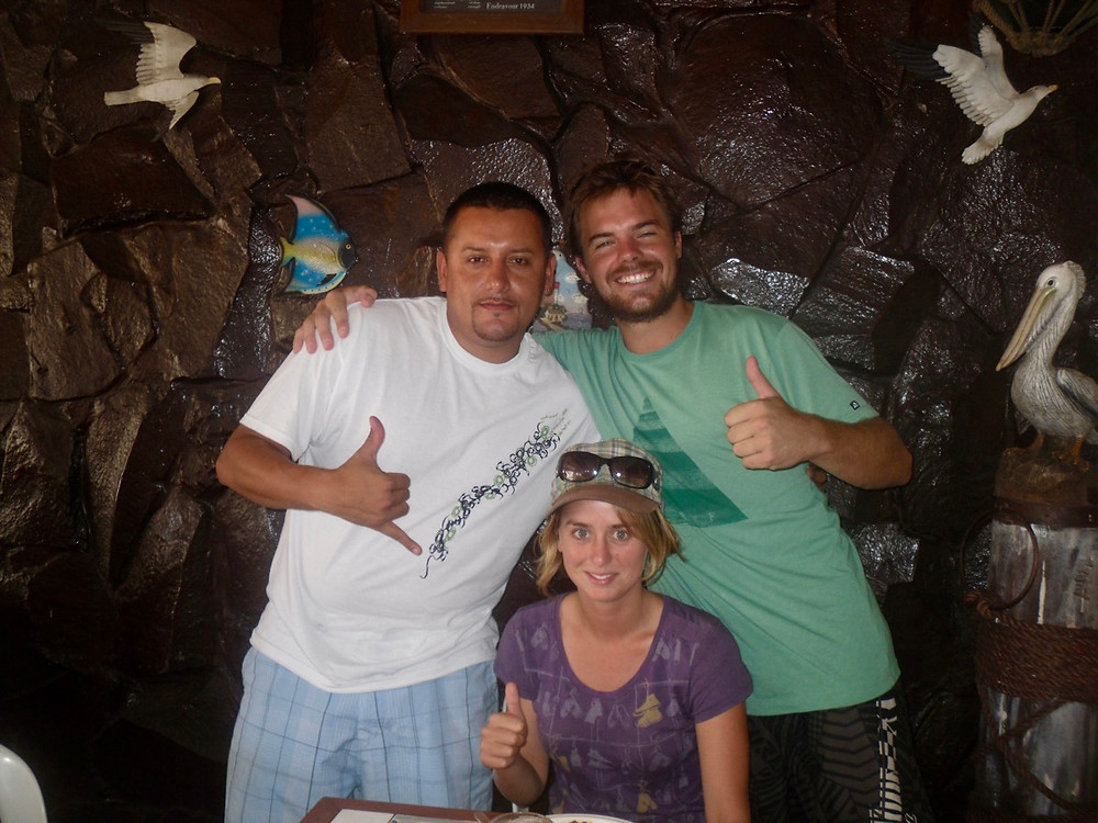 Bronnie, George and Ollie in Manta, Ecuador