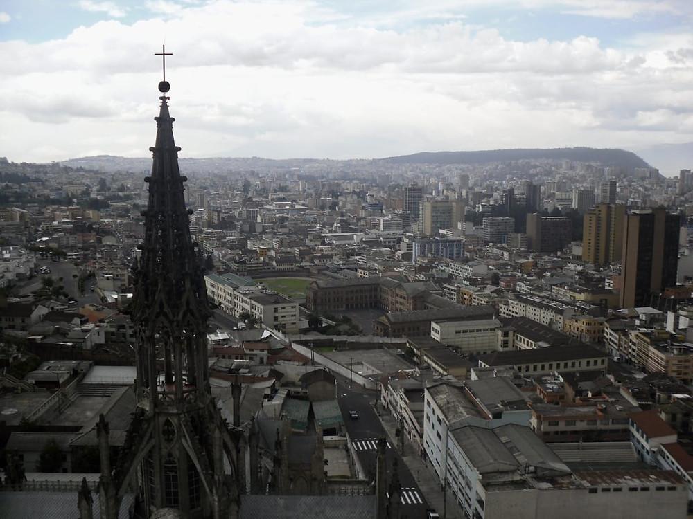 View of Quito from a spire of Basílica del Voto Nacional - Ecuador