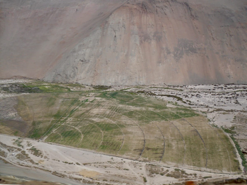 Nine span irrigation pivot in the Atacama Desert, Chile