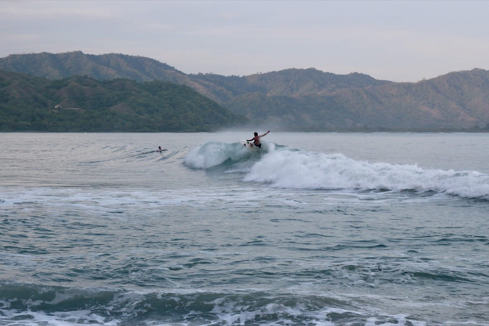 Ollie surfing Cuatro Once at Cambutal in Panama