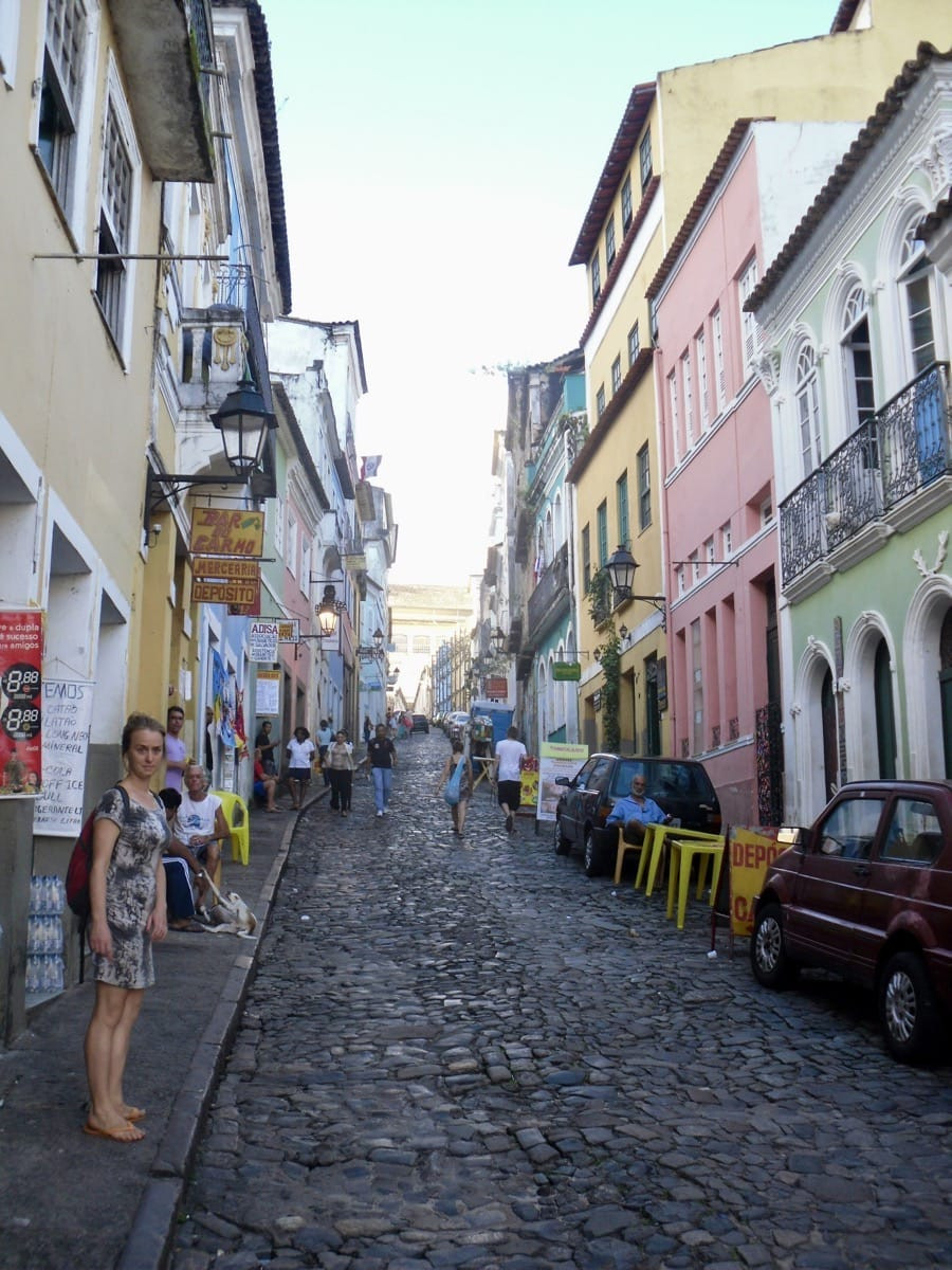 Bronnie on a street in Salvador, Brazil