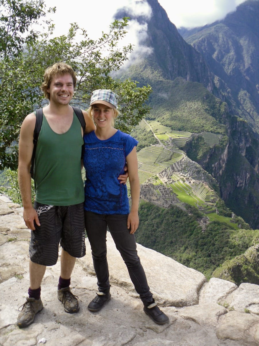 Ollie and Bronnie with a view of Machu Picchu from Huayna Picchu in Peru
